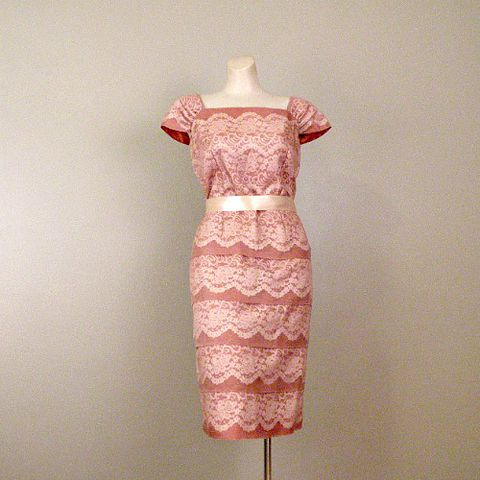 50s,Cinnamon,and,Lace,Marji,Low,Party,Dress,38b/32w,1950s, 50s, vintage, dress, cocktail, party, wedding, Marji Low, cinnamon, lace, chiffon, tiers, tiered, sweetiepievintage, sweetie pie vintage, prettysweetvintage