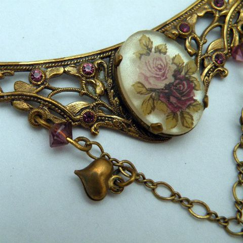 Romantic,Nouveau,Piddly,Links,Necklace,1970s, 70s, vintage, jewelry, jewellery, Piddly Links, art nouveau, art deco, Edwardian, Victorian, brass, antique, filigree, cameo, roses, violet, beads, rhinestones, hearts, collectible, gift