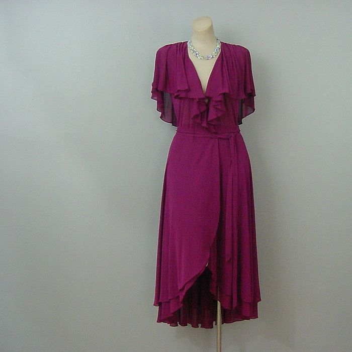 ab42b8db3f7 70s Contempo Casuals Raspberry Disco Dress Small - Pretty Sweet Vintage