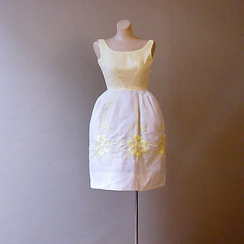 60s,Tiny,Dancer,Party,Dress,X-Small,32b/22w,1960s, 60s, 1950s, 50s, vintage, dress, party, dance, chiffon, yellow, white, embroidery, puff, pouf, crinoline, petticoat, Mad Men, extra small, xs