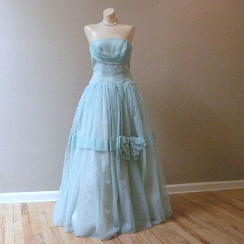 50s,Some,Enchanted,Evening,Prom,Party,Dress,34b/27w,vintage, 1950s, 50s, dress, party, prom, formal, chiffon, long, crinoline, petticoat, seafoam, green, strapless, boned, shelf bust, bow, dropped waist, sweetiepievintage, sweetie pie vintage