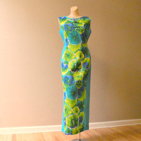 60s,70s,Green,Goddess,Hawaiian,Maxi,Dress,38b/32w,1960s, 60s, 1970s, 70s, vintage, dress, maxi, long, Hawaiian,  Casual Aire, blue, green, frogs, party, cocktail, sweetiepievintage, sweetie pie vintage