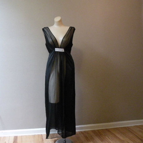60s,70s,Faris,Treasure,Gown,Small/Medium,1960s, 60s, 1970s, 70s, vintage, gown, nightgown, Faris, California, Treasure, black, sheer, sexy, chiffon, long, silver