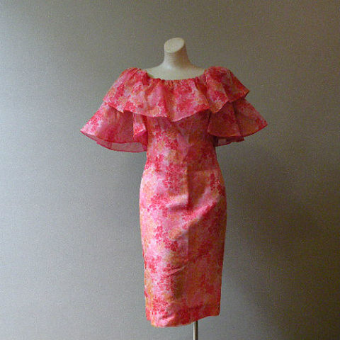 60's,Groovy,Garden,Dress,Medium,1960s, 60s, vintage, dress, party, chiffon, groovy, hullaballoo, shindig, bell sleeves, s. howard hirsh, bright, floral, ruffle, retro, sweetiepievintage, sweetie pie vintage