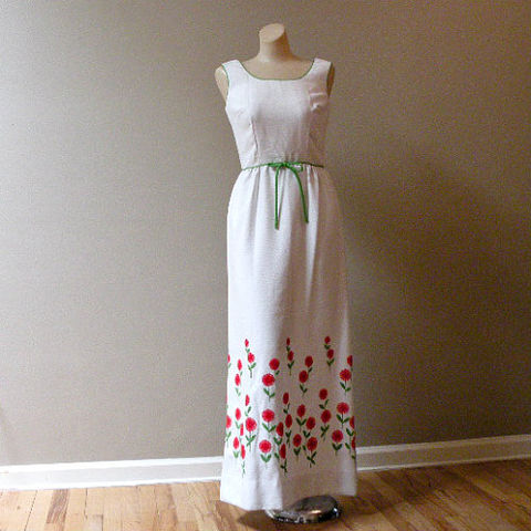 70s,It's,Spring,Maxi,Dress,33b/25w,1970s, 70s, vintage, dress, long, maxi, Lee Stevens, white, cotton, pique, red, flowers, floral, embroidered, spring, summer, party, sleeveless, sweetiepievintage, sweetie pie vintage