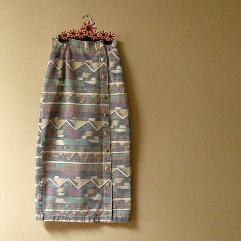 80s,Desert,Dreams,Denim,Skirt,25w,vintage, 1980s, 80s, skirt, midi, mid-length, long, southwestern, ethnic, native american, faded, denim, buttons, jeans, cowgirl, sweetiepievintage, sweetie pie vintage