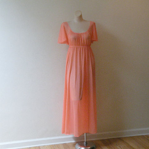 70s,Deep,Peach,Princess,Nightgown,38,Bust,Medium,1970s, 70s, vintage, lingerie, gown, nightgown, long, JC Penney, sheer, silky, peach, empire, empire waist, lace, sweetiepievintage, sweetie pie vintage