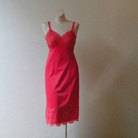 60s,Cherry,Red,Lacy,Full,Slip,34,Bust,Small,1960s, 60s, vintage, lingerie, slip, full, red, cherry, lacy, lace, curvy, Lorraine, sweetiepievintage, sweetie pie vintage