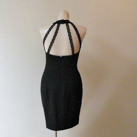 90s,Sexiest,Nicole,Miller,Little,Black,Dress,32b/27w,1990s, 90s, Nicole Miller, Ann Taylor, little black dress, dress, mini, black, bare, sexy, low cut, cage back, chain, curvy, sweetiepievintage, sweetie pie vintage