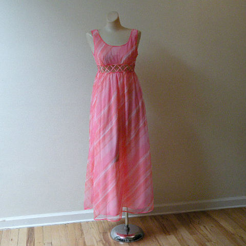 60s,Bubblegum,Swirl,St.,Michael,Nightgown,Small,1960s, 60s, vintage, lingerie, gown, nightgown, long, St. Michael, bubblegum, lattice, nylon, pink, smocked, Valley of the Dolls, sweetiepievintage, sweetie pie vintage