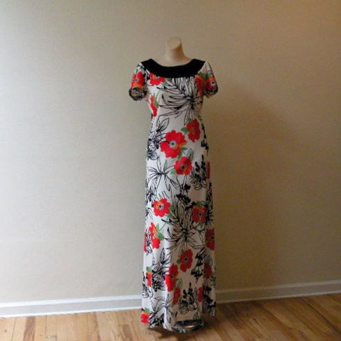 70s,Tropical,Punch,Maxi,Dress,38b/30w, 1970s, vintage, maxi, long, dress, tropical, floral, bold, sash, train, punch, summer, Hawaiian, sweetiepievintage, sweetie pie vintage