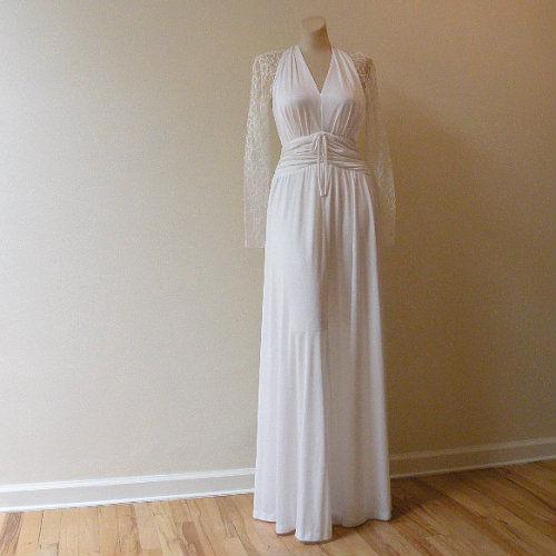 80s Romantic Lace & Jersey Wedding Dress 36b/28w - Pretty Sweet Vintage