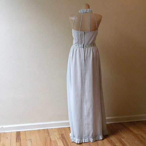 70s,Baby,Blue,Blush,Cage-Back,Party,Dress,36b/26w,1970s, 70s, vintage, baby blue, halter, cage back, maxi, dress, long, party, summer, pink, blush, prom, sweetiepievintage, sweetie pie vintage
