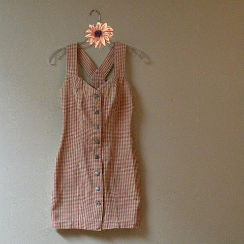 90s,Hot,Fun,in,the,Summertime,Mini,Dress,32b/24w,1990s, 90s, vintage, dress, mini, California Concepts, denim, gingham, peach, gold, button front, summer, strappy, sweetie pie vintage, sweetiepievintage