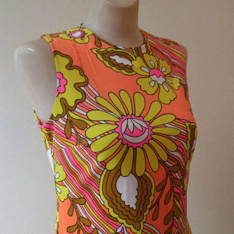 60s,70s,Girl,From,Ipanema,Maxi,Dress,Medium,1960s, 60s, 1970s, 70s, dress, long, maxi, Catalina, psychedelic, California, Peter Max, floral, flowers, hot pink, orange, summer, sweetiepievintage, sweetie pie vintage