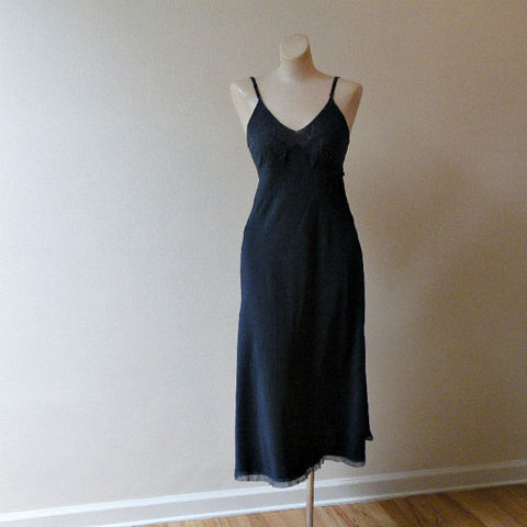 30s,Black,Silk,Fischer,Full,Slip,Small,1930s, 30s, vintage, lingerie, slip, full slip, gown, nightgown, dress, silk, charmeuse, black, bias cut, Fischer, Heavenly Lingerie, lace, tulle, romantic, sweetiepievintage, sweetie pie vintage