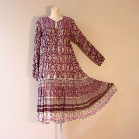 70s,California,Dream,Gauze,Dress,1970s, 70s, vintage, dress, hippie, bohemian, boho, gypsy, California Dream, gauze, Indian, ethnic, purples, bells
