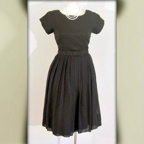 60s,Black,Chiffon,Little,Dress,1950s, 50s, 1960s, 60s, vintage, dress, little, black, chiffon, full skirt, mad men, sweetiepievintage, sweetie pie vintage
