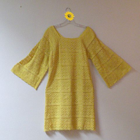 60s/70s,Wish,They,All,Could,Be,California,Girls,Crochet,Dress,36b/35w,1960s, 60s, 1970s, 70s, vintage, yellow, crochet, mexican, dress, california girl, bell sleeves, hippie, boho, bohemian, beach, boardwalk, sweetie pie vintage, sweetiepievintage