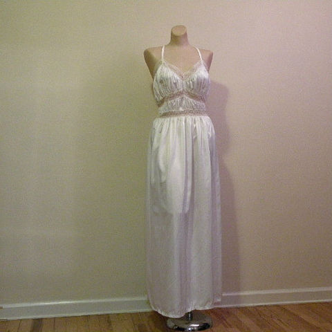 50s,Nights,in,White,Satin,Nightgown,38,Bust,1940s, 40s, 1950s, 50s, vintage, lingerie, nightgown, gown, white, snow, satin, rayon, grecian, ruched, Gracette, sweetiepievintage, sweetie pie vintage