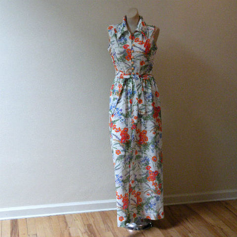 70s,Garden,Party,Dress,40b/28w,1970s, 70s, vintage, dress, maxi, long, Melissa Lane, textured, floral, bright, orange, purple, flowers, garden