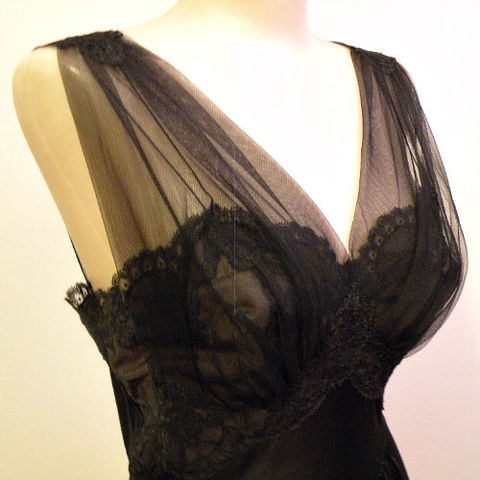 50s,Queen,of,the,Night,Vanity,Fair,Gown,Small,1950s, 50s, vintage, lingerie, gown, long, Vanity Fair, black, Queen, dreamy, tulle, lace, nylon, tricot, sheer, sweetiepievintage, sweetie pie vintage