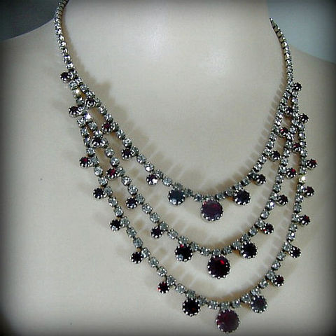50s,Ruby,Rhinestone,Necklace,1950s, 50s, rhinestone, necklace, ruby, red, jewelry, jewellery, sweetiepievintage, sweetie pie vintage