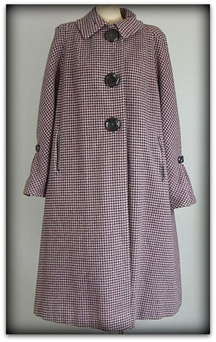 50s,Jaunty,Juniors,Pink,&amp;,Black,Coat,1950s, 50s, vintage, coat, houndstooth, pink, black, Jaunty Juniors, big buttons, sweetiepievintage, sweetie pie vintage