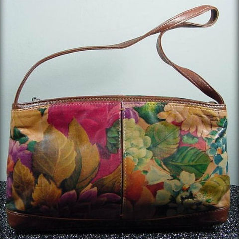 Borghese,Floral,Leather,Bag,1980s, 80s, vintage, purse, handbag, bag, Borghese, leather, dyed, floral, sweetiepievintage, sweetie pie vintage