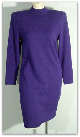 80s,St.,John,Purple,Knit,Mini,Dress,1980s, 80s, vintage, dress, day, purple, knit, sweetiepievintage, sweetie pie vintage, mini