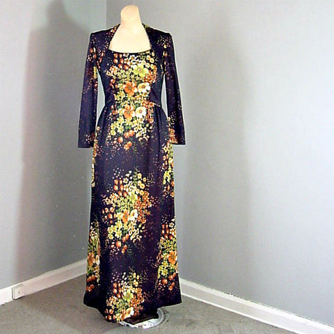 70s,Andrea,Gayle,Maxi,Dress,1970s, 70s, vintage, dress, maxi, long, Andrea Gayle, floral, dark, hippie, bohemian, boho, sweetiepievintage, sweetie pie vintage