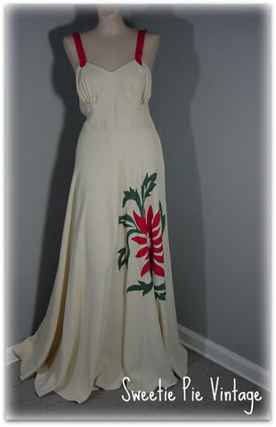 40s,Appliqued,Party,Dress,1940s, 40s, dress, party, long, gown, applique, sweetiepievintage, sweetie pie vintage
