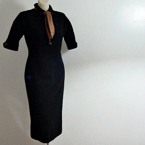 50s,Anne,Fogarty,Wool,Career,Dress,1950s, 50s, 1960s, 60s, dress, career, Mad Men, Anne Fogarty, wool, black, jabot, scarf, sweetiepievintage, sweetie pie vintage