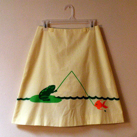80s,Fishing,Froggie,Skirt,28w,1980s, 80s, vintage, vested gentress, skirt, shorts, panties, frog, fish, goldfish, skort, yellow, green, orange, sports, sporty, whimsical, golf
