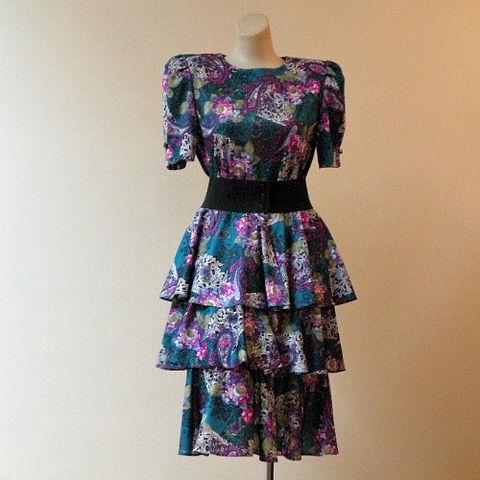 Vintage Prom Dress on 80s Paisley Rose Peplum Dress 38b 36w 1980s  80s  Vintage  Dress  Day