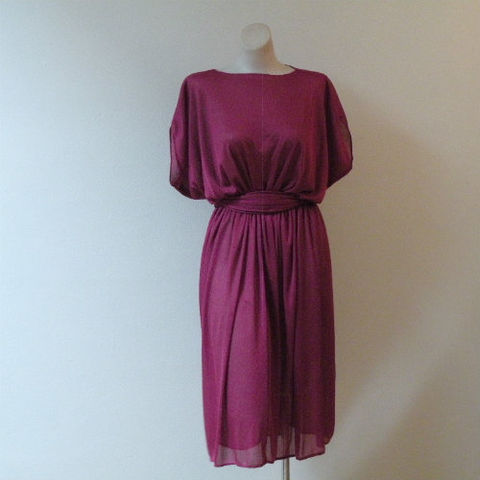 70s,80s,Raspberry,Shimmer,Sheer,Jersey,Dress,42b, 1970s, 1980s, 80s, vintage, raspberry, shimmer, sheer, jersey, dress, party, dinner, wine, merlot, cabernet
