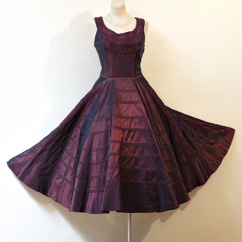 Vintage Dress on Perette Iridescent Burgundy Party Dress 1950s  50s  Vintage  Dress