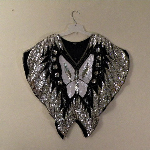 80s,Glitter,Butterfly,Top,38b,1980s, 80s, vintage, night, evening, moth, butterfly, sequins, beads, black, silver, white, silk, India, sweetiepievintage, sweetie pie vintage, prettysweetvintage