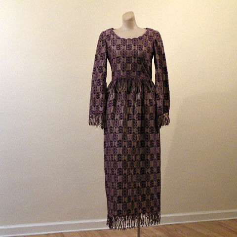 60s,Bohemian,Dior,Maxi,Dress,&,Jacket,Fringe,35b/26w,1960s, 60s, vintage, bohemian, tribal, Dior, maxi, long, dress, jacket, fringe, silk, weave, boho, Christian Dior, New York, hippie chic, hippie, chic
