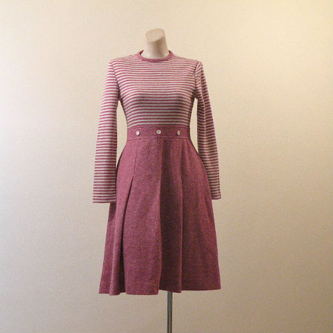 70s,Rontirri,Feelin',Groovy,Dress,34b/27w,1960s, 60s, vintage, feelin' groovy, Rontirri, stretch, mauve, pink, cream, pleated, school, cool, sweater, fall, winter, dress
