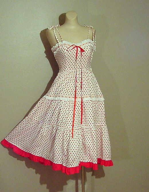 70s Red Dot Young Edwardian Dress - Pretty Sweet Vintage