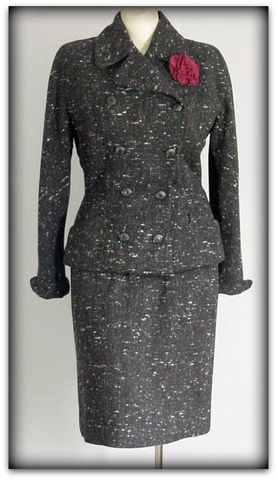 50s,Matlin,Speckled,Suit,1950s, 50s, vintage, suit, wool, speckled, Matlin, tailored, nipped, career