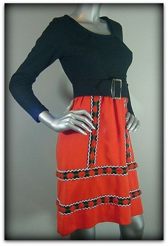 60s,Howard,Wolf,Heidi,Dress,1960s, 60s, vintage, dress, casual, day, orange, black, knit, yarn, fun, trendy, Howard Wolf, Heidi