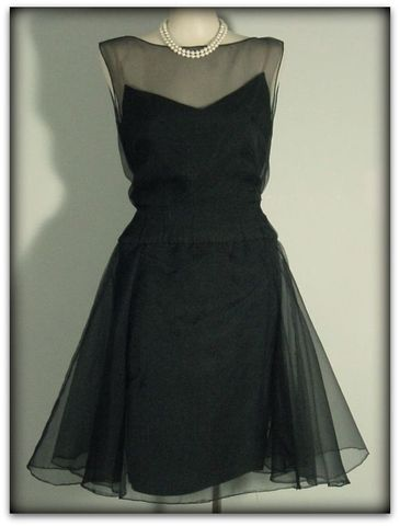 50s,Helena,Barbieri,Chiffon,Dress,1950s, 50s, 1960s, 60s, vintage, dress, cocktail, party, evening, dance, black, chiffon, swishy, full, silk, Helena Barbieri