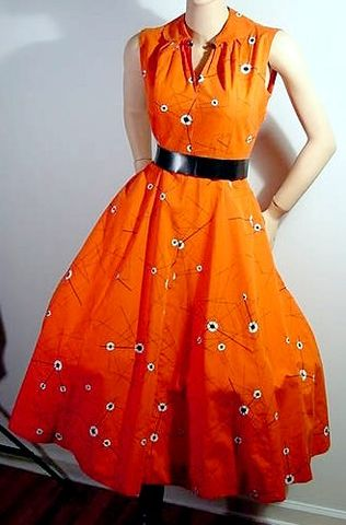 50s,Red,Atomic,Print,Dress,1950s, 50s, vintage, dress, day, party, red, atomic, print, novelty, full skirt, Mad Men