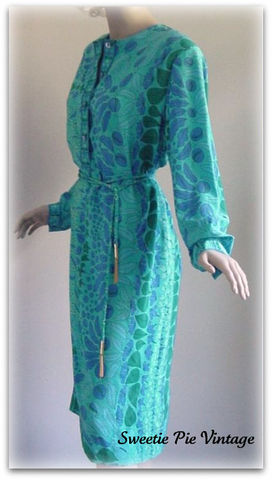 80s,Averardo,Bessi,Blue,Silk,Dress,1980s, 80s, vintage, dress, elegant, day, silk, blue, Pucci, Pucci-esque, Averardo Bessi, designer, collectible