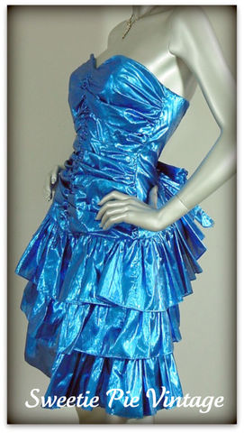 80s,Electric,Blue,Foil,Party,Dress,by,Steppin,Out,1980s, 80s, vintage, dress, party, evening, dance, prom, Steppin' Out, electric blue, blue, foil, flouncy, ruffles, strapless, sexy, fun, trendy