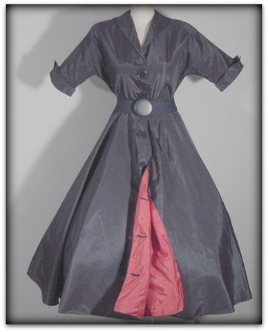 40s,50s,Navy,&,Red,Taffeta,Swing,Dress,1940s, 40s, 1950s, 50s, dress, swing, navy, red, taffeta, party, dance, big button, swishy, fun, rockabilly,