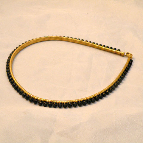 50s,Gold,Stretch,Black,Bead,Jeweled,Belt,XS,Small,1960s, 60s, gold, stretch, belt, black, bead, jeweled, vintage, snake, cobra, jet, metal, unique, sexy, glamorous, skinny, new, nwot