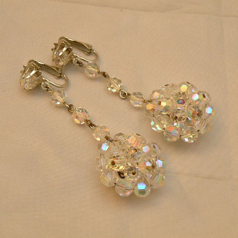 50s,60s,Crystal,Ball,Dangle,Earrings,1950s, 50s, 1960s, 60s, vintage, jewelry, jewellery, earrings, clip back, crystal, cut, faceted, aurora borealis, glass, dangle, glamorous, swanky
